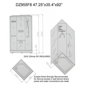 DZ955F8 Steam Shower 47.25″x35.4″x91″