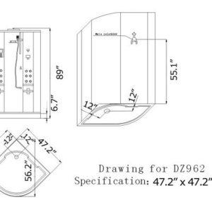 DZ962F8 Steam Shower 47.25″x47.25″x89″