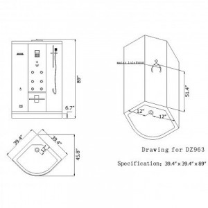 DZ963F8 Steam Shower 40″x40″x89″
