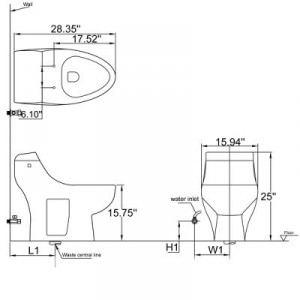 One Piece Single Flush Toilet TB108
