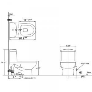 One Piece Dual Flush Toilet TB222